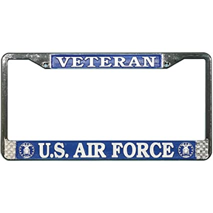 Amazoncom Us Air Force Veteran License Plate Frame Chrome Metal