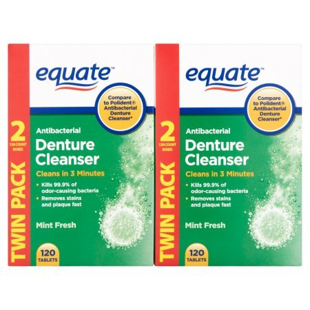 Equate® Antibacterial Denture Cleanser (Pack of 2 Boxes 240 Tablets Total) Mint Fresh (Green Box) (Denture Cleaner 3 Minute)
