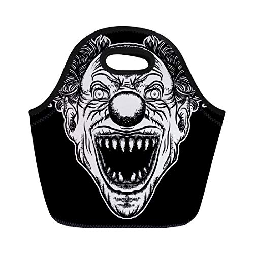 Semtomn Lunch Tote Bag Scary Clown Head of Circus Horror Film Character Laughing Reusable Neoprene Insulated Thermal Outdoor Picnic Lunchbox for Men Women ()