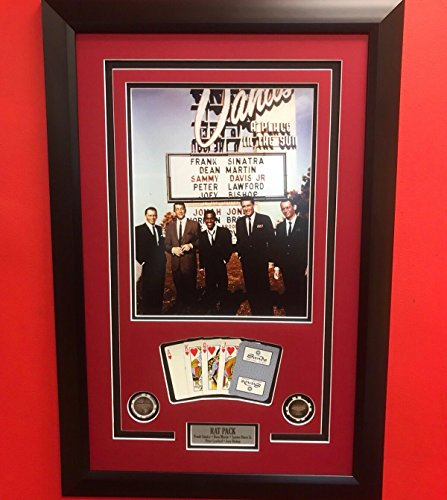 Framed The Rat Pack Frank Sinatra Sands Casino Las Vegas Cards and Poker Chips 11x14 Photo Professionally Matted