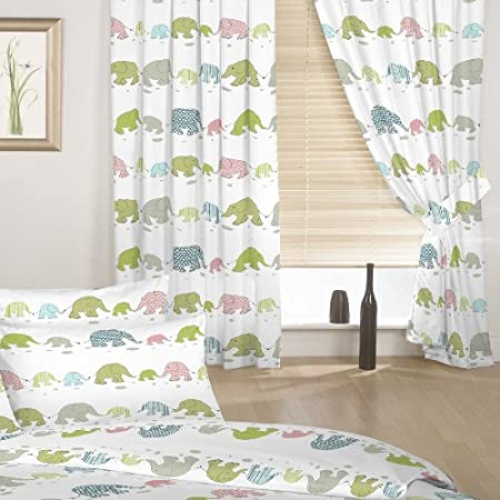 Childrens Elephant Print Set Of Curtains With Tiebacks Colour White Pink Blue