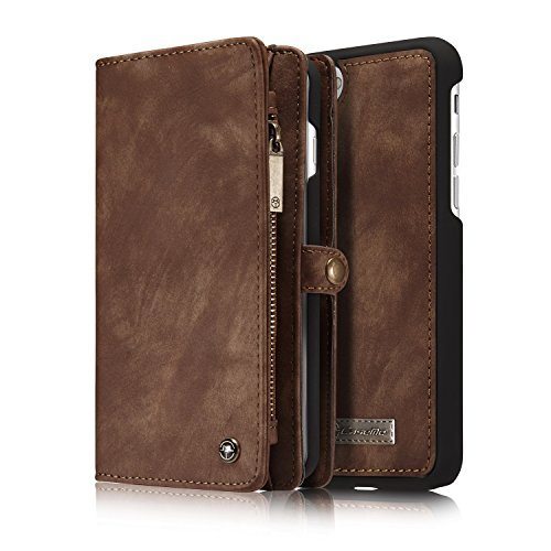 Price comparison product image iPhone 7 Plus Case,iPhone 7 Plus Leather Wallet Case,NERVX Cowhide Leather Wallet Cover Case,[Zipper Wallet] Detachable Magnetic Hard Case,14 Card Slots for iPhone 7 Plus (Brown)