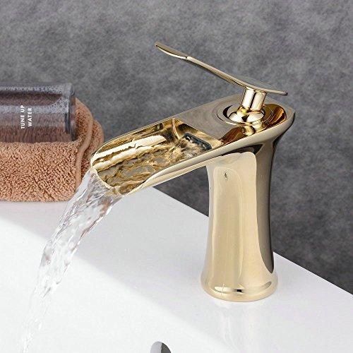 Polished Brass Bathroom Sink Faucet (Beelee Single Handle Single Hole Waterfall Bathroom Sink Faucet, Polished Gold)