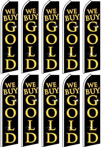 10 Swooper Flutter Flags WE BUY GOLD Black Yellow