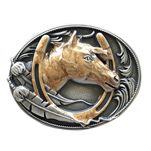 New Vintage Enamel Gold Horse Horseshoe Belt Buckle also Stock in US from jeans friend