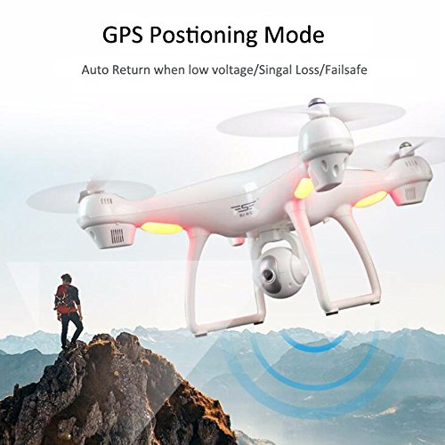 Benyi GPS FPV RC Drone with Camera Live Video and GPS Return Home Quadcopter with Adjustable Wide-Angle 1080P HD WIFI Camera- Follow Me, Altitude Hold, Long Control Range (White)