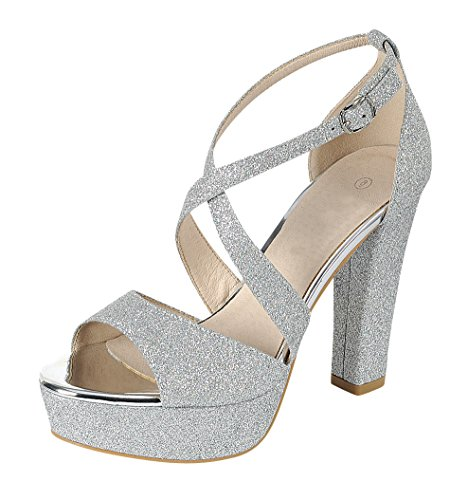 Cambridge Select Women's Peep Toe Crisscross Ankle Strappy Glitter Platform High Heel Dress Sandal (7 B(M) US, ()