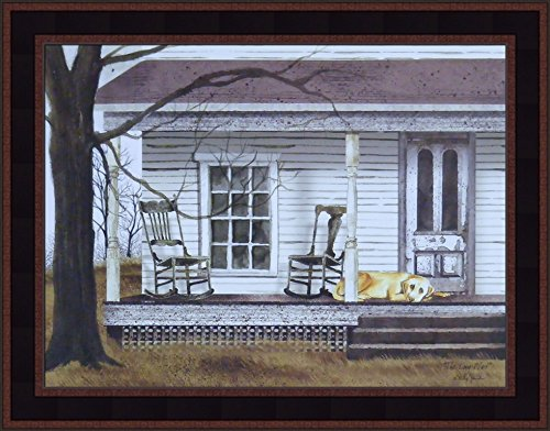 Home Cabin Décor The Long Wait by Billy Jacobs 15x19 Dog Yellow Lab Porch Rockers Rocking Chairs Country Primitive Folk Art Print Framed Picture