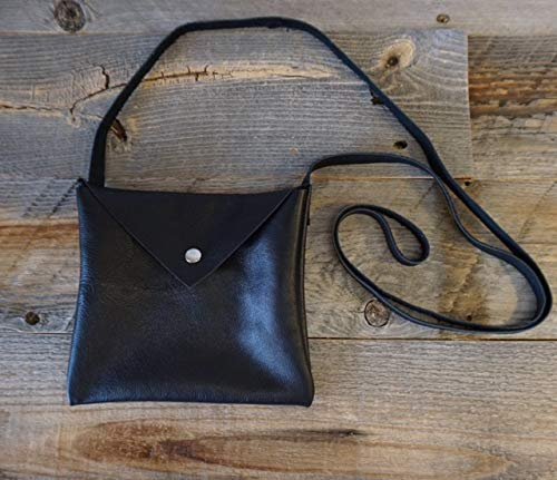 Leather Cross Body Purse/Pouch with long strap/Snap Closure on Flap