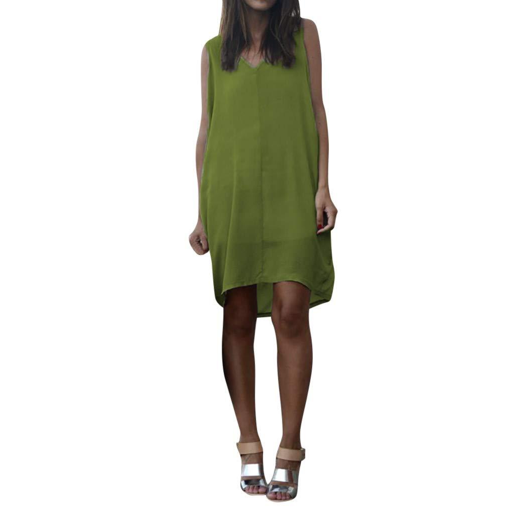 Sleeveless Dress,Youngh Summer Women Casual Sleeveless Tank V Neck Loose Beach Holiday Dress Green