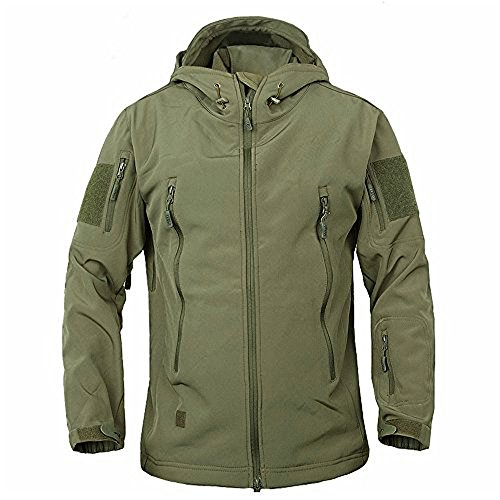 Men's Military Softshell Tactical Jacket Hooded Fleece Coat