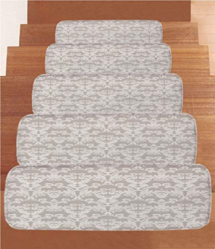 """SoSung Taupe Coral Fleece Stair Treads,Stair Tread Mats,Nature Garden Themed Pattern with Damask Imperial Tile Rococo Inspired Stylized,(Set of 5) 8.6""""x27.5""""Taupe and White from SoSung"""