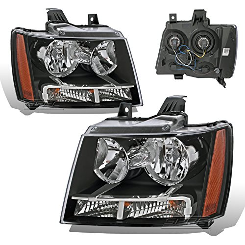SPPC Black Headlights Assembly Set for Chevrolet Tahoe/Suburban/Avalanche (Pair) High/Low Beam Bulb Included