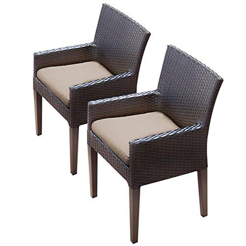 TK Classics TKC097b-DC-C 2 Piece Napa Dining Chairs with Arms, Wheat ()