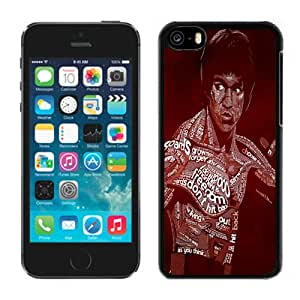 Fashion Custom Designed Cover Case For iPhone 5C Phone Case With Bruce Lee Typography_Black Phone Case