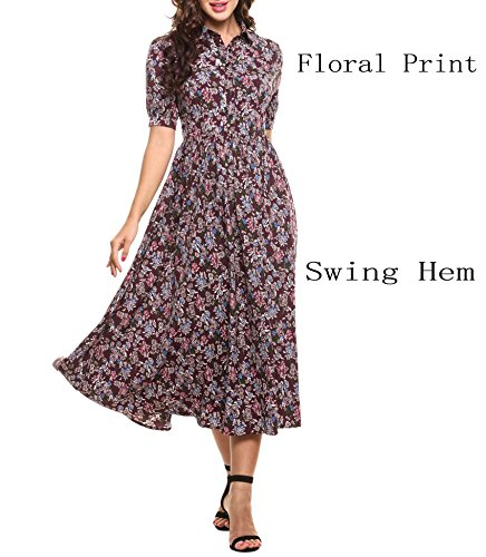 Goodfans Floral Print Peter Pan Collar High Waist Midi Dress for Women(Khaki,M) (Sleeve Button Front Dress)