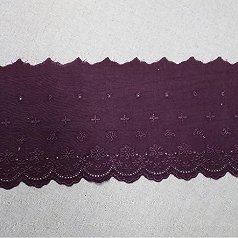 5 yards Burgundy Red Thin Elastic Stretch Eyelet Fashion Lace Trim 1 inch Wide Trim