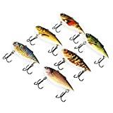 YOOYOO 6pcs Outdoor Fishing Lures Bait with 2 Hook