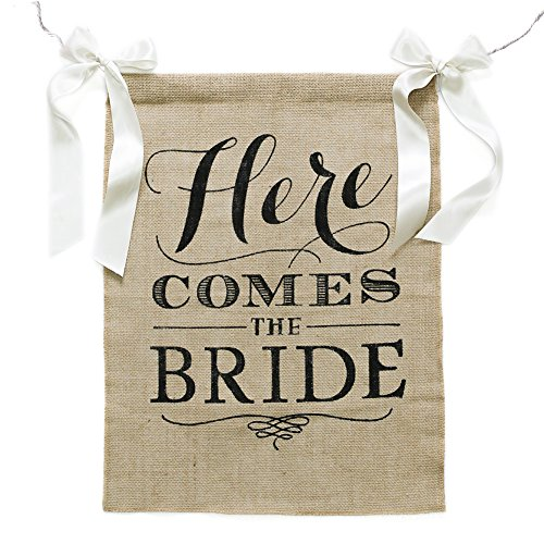 Partys Here Sign Banner (Ling's moment Rustic Theme Wedding Burlap Sign Banner