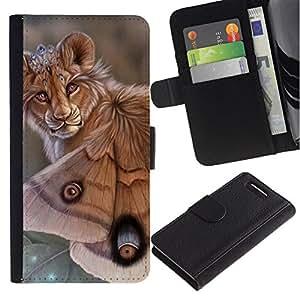 All Phone Most Case / Oferta Especial Cáscara Funda de cuero Monedero Cubierta de proteccion Caso / Wallet Case for Sony Xperia Z1 Compact D5503 // Lion Butterfly Nature Art Biotechnology Eyes