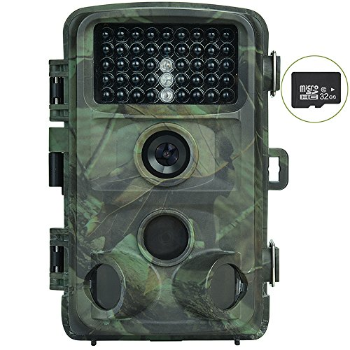 Trail Camera, Nicam 1080P Trail Game Camera with Infrared Night Vision, 12MP Hunting Game Camera with 32G SD Card, Waterproof with 0.2S Trigger Speed(Camera + 32G SD Card)