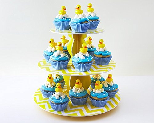 Baby Shower Cupcake Picks Toppers Kit Display - (24) Rubber Ducky Picks (32) Light Blue Baking Cups (3.8oz) White Pearls (1) 3-Tier Yellow Cupcake Stand