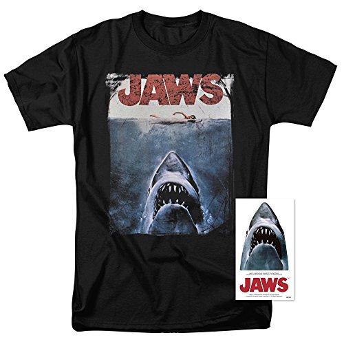 Jaws Shark Original Movie Poster Black T Shirt (X-Large)