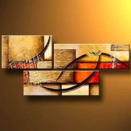 Amazon.com: 3 Pics Modern Abstract 100% Hand Painted Oil Paintings ...