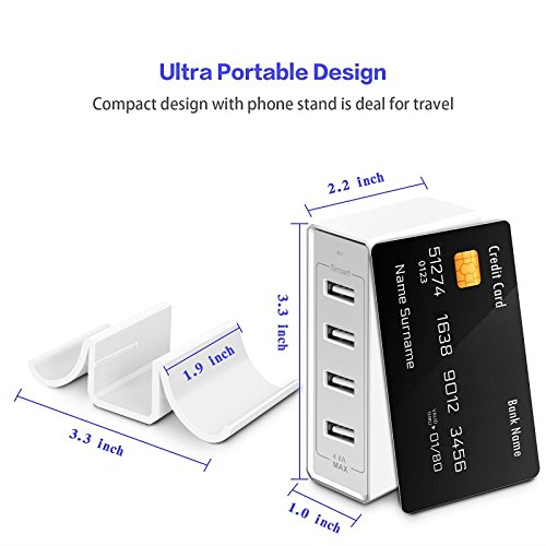 Atizzy Multi Port Usb Charger with Phone Stand, 24W 4.8A 4-Port Usb Hub Rapid Desktop Charging Station Usb Adapter for Apple iOS,Samsung Android & All Other USB Enabled Devices-White by Atizzy (Image #3)