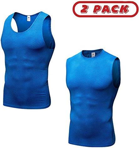 男性用2パックの圧縮シャツ、ワークアウトタンクトップアンダーシャツストレッチクールドライスリミングボディシェイパーベスト,ブルー,M