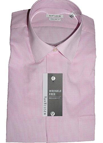 VAN HEUSEN Regular Fit Wrinkle Free Mini Checks Long Sleeve Dress Shirt, 16 1/2 (34-35), Bright Pink - Van Heusen Pink Dress Shirts