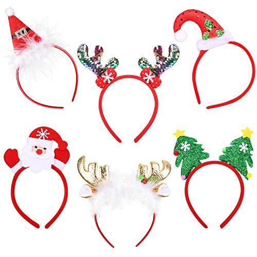 6 Pack Christmas Headbands Reindeer Antlers Headdress Hair Bands Christmas Tree Santa Headband for Christmas Holiday Party Decor