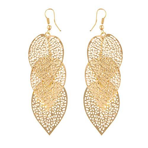 Himpokejg Woman's Fashion Hollow Leaf Shaped Drop Dangle Hook Earrings Party Jewelry Gifts - Golden