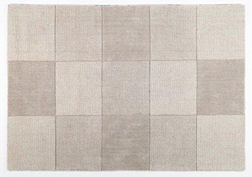 Wool Squares - Wollteppich mit Quadratmuster - Beige 150x210