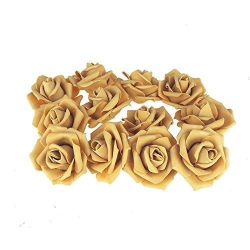 Homeford Foam Roses Flower Head Embellishment, 3-Inch, 12-Count (Gold)