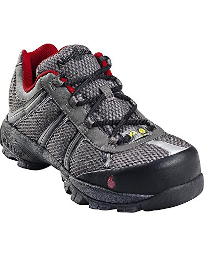 Nautilus Steel Toe Athletic Shoe (Nautilus Mens Steel Toe ESD Athletic W Grey/Red Action Leather Shoes 15 EE)