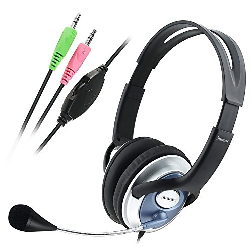 - Insten Overhead Headset with Built In Microphone Handsfree Noise Canceling Mic with Adjustable Headband for PC Laptop Computer/Skype / Conference Calls Webinar Meeting Stereo On-Ear Wired Headphone