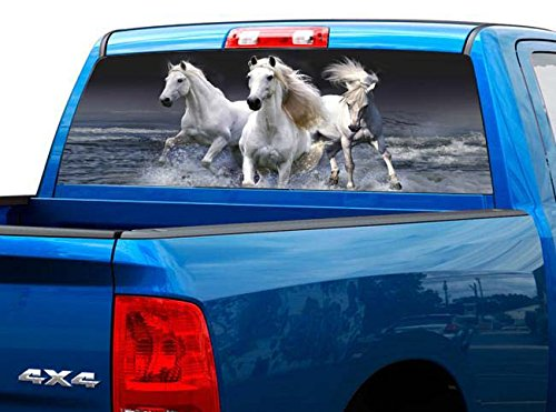 P421 White Horse Tint Perforated Rear Window Decal 65