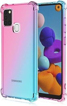TOPOFU Funda para Samsung Galaxy A21s, Carcasa Cristal Transparente Silicona TPU Bumper Anti-Arañazos Antigolpes Protectora Case Cover para Samsung Galaxy A21s (Rosado Verde): Amazon.es: Electrónica