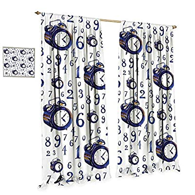 cobeDecor Clock Thermal Insulating Blackout Curtain Watercolor Style Effect with an Alarm Clock Illustration Caligraphic Numbers Patterned Drape for Glass Door W72 x L84 Blue and White