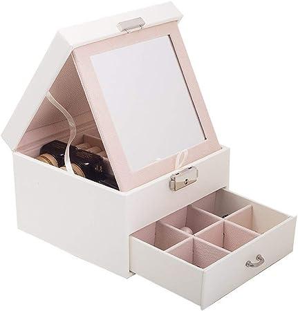 Gu3Je Joyero PU joyería Caja de Doble Joyero de Almacenamiento Pendiente del Anillo de la Caja para Guardar Joyas (Color : White, Size : 16x16x11.2cm): Amazon.es: Hogar
