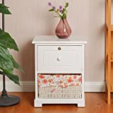 Giantex 2 Tiers Nightstand End Table Wood Home Furniture Sofa Side Bedside Storage Organizer W/Basket Lockable Drawer (1, White)