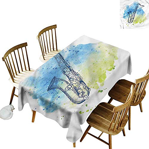 one1love Water Resistant Table Cloth Music Watercolor Style Sketch Sax It's Good to be Home Gorgeous High End Quality 60
