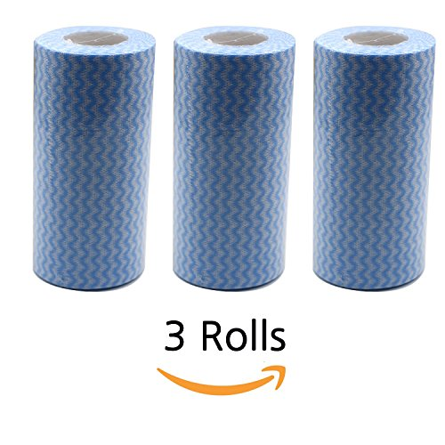 Waffle Weave Crochet (kitchen towels and dishcloths 3rolls 150pcs Blue best dishcloths Cleaning Multi-purpose cloth)