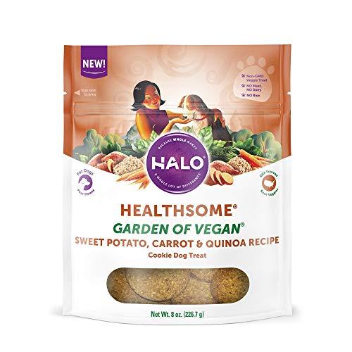 Halo Vegan Grain Free Natural Crunchy Dog Treats, Garden Of Vegan Sweet Potato, Carrot, Quinoa Recipe, 8-Ounce Bag