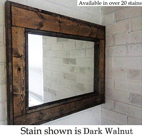 (Herringbone Reclaimed Wood Framed Mirror, Available in 4 Sizes and 20 Stain colors: Shown in Dark Walnut - Large Wall Mirror - Rustic Modern Home - Home Decor - Mirror - Housewares - Woodwork - Frame)