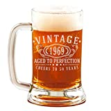 50th Birthday Etched 16oz Glass Beer Mug - Vintage 1969 Aged to Perfection - 50 years old gifts
