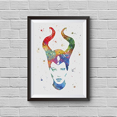 Maleficent Watercolor Disney Princess Sleeping Beauty Print Princess Aurora Poster Baby Girl Kids Nursery