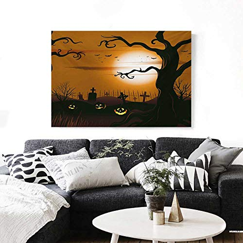 Halloween Canvas Wall Art for Bedroom Home Decorations Leafless Creepy Tree with Twiggy Branches at Night in Cemetery Graphic Drawing Art Stickers 48