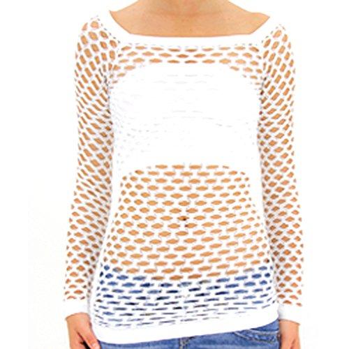 TD Collection Nylon Fishnet Long Sleeve Top Go Go Dance Wear (Small/Medium, White) (White Long Fishnet Sleeves)